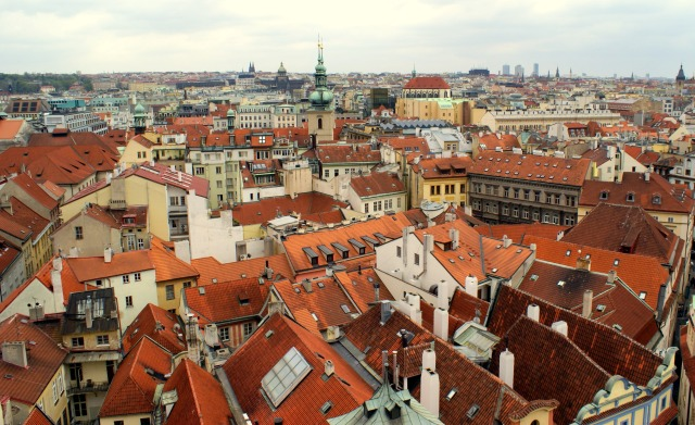 Prague from the top of Old Town Hall Tower